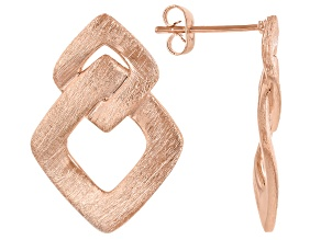 Copper Brushed Interlocking Squares Earrings