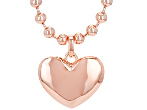 Copper Beaded Heart Charm Necklace