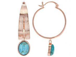 Turquoise Copper Dangle Hoop Earrings