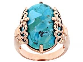 Turquoise Copper Filigree Design Ring