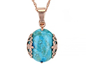 """Turquoise Copper Filigree Design Enhancer With 18"""" Chain"""