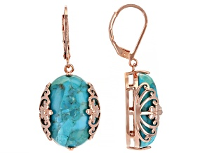 Turquoise Copper Filigree Design Earrings