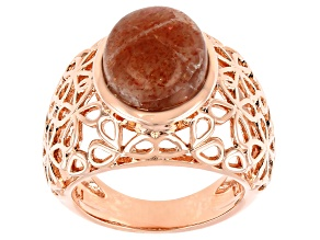 Sunstone Copper Floral Open Design Ring