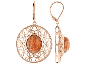 Sunstone Copper Floral Open Design Earrings