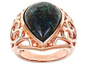 Azurite Copper Filigree Ring