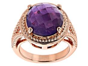 Amethyst Checkerboard Cut Copper Ring