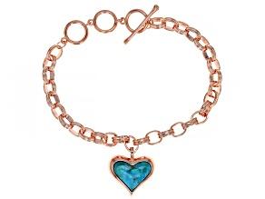 Heart Shape Turquoise Copper Link Bracelet
