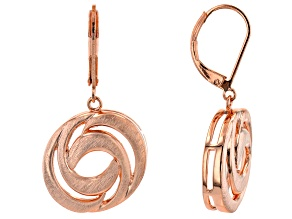 Brushed Copper Swirl Bypass Earrings