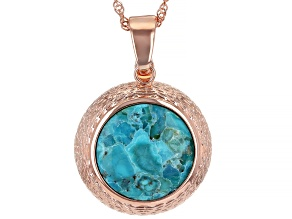 """Round Turquoise Copper Enhancer With 18"""" Chain"""