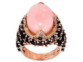 Copper Peruvian Pink Opal Ring 7.19ctw