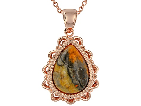 Copper brown jasper pendant with chain cop391 jtv copper brown jasper pendant with chain aloadofball Images