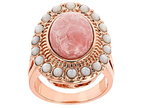 Copper Rhodochrosite And White Mother Of Pearl Ring