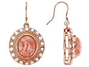 Copper Rhodochrosite Dangle Earrings