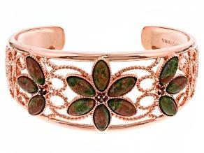 Copper Unakite Cuff Bracelet .25ctw