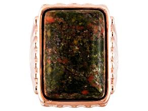 Copper Multicolor Unakite Ring