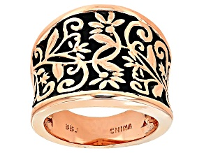 Black Enamel Detail Copper Band Ring