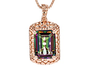 Copper Multicolor Quartz Enhancer With Chain 10.75ctw