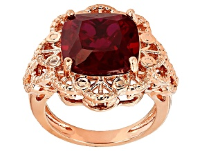Red Lab Created Ruby Copper Ring 8.50ct