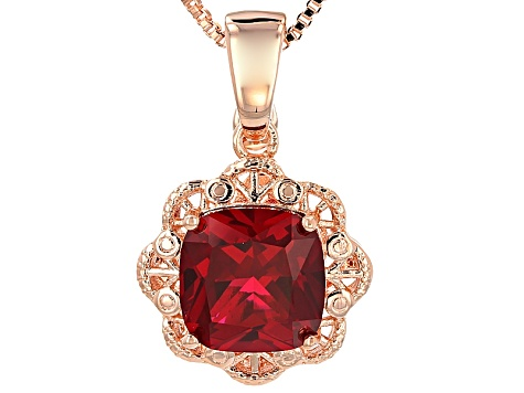 860233dabf63b Red Lab Created Ruby Copper Enhancer With Chain 8.50ct