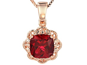 Red Lab Created Ruby Copper Enhancer With Chain 8.50ct