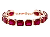 Red Lab Created Ruby Copper Bracelet 74.40ctw