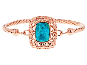 Blue Turquoise Copper Bangle Bracelet