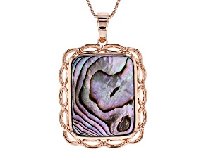 Multicolor Abalone Shell Copper Enhancer With Chain