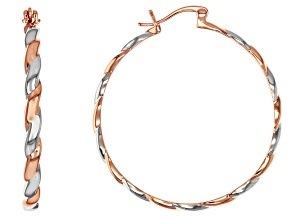 Two Tone Copper Hoop Earrings