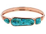 Mixed Shape Turquoise Copper Hinged Bracelet