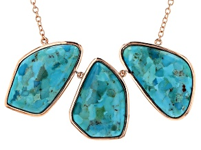 3-Stone Free Form Turquoise Copper Statement Necklace