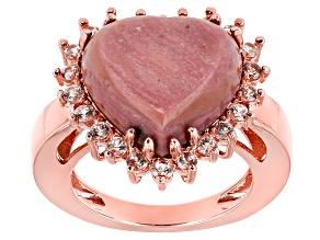 Pink Rhodonite Copper Ring 1.21ctw