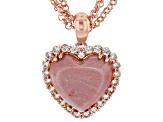 Pink Rhodonite Copper Pendant With Chain 1.32ctw