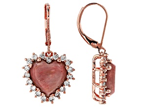 Pink Rhodonite Copper Earrings 1.98ctw