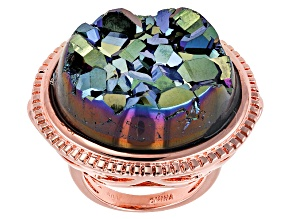 Green Drusy Copper Ring