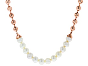 White Cultured Freshwater Pearl Copper Necklace