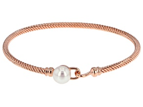 White Cultured Freshwater Pearl Copper Bracelet