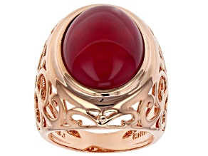 Pink Onyx Copper Ring