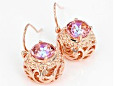 Pink Salmon Sensation™ Quartz Copper Earrings 3.06ctw