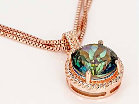 Copper Morning Mist™ Quartz Pendant With Triple Chain Necklace 7.01ct