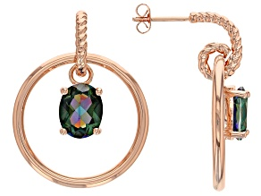 Copper Oval Morning Mist™ Quartz Dangle Earrings  4.42ctw