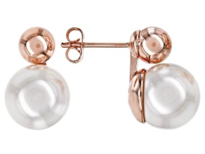 Copper White Shell Pearl, (Pearl Simulant) Earrings