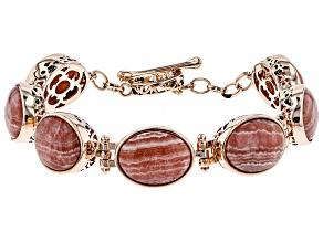 Pink Rhodochrosite Copper Bracelet