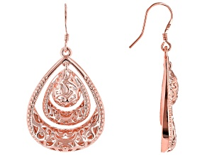 Copper Textured Teardrop Dangle Earrings