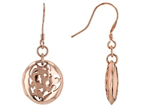 Copper Openwork Heart Design Dangle Earrings