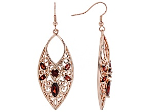 Timna Jewelry Collection™ Red Garnet Copper Dangle Earrings 5.64ctw