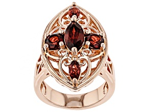 Red Garnet Copper Ring