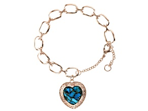Turquoise Blue Copper Heart Charm Bracelet