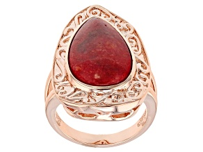Red Coral Copper Ring