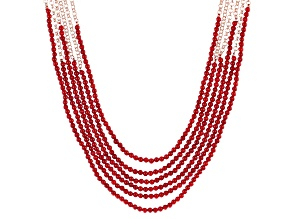 Red Coral Bead Multi-strand Copper Necklace