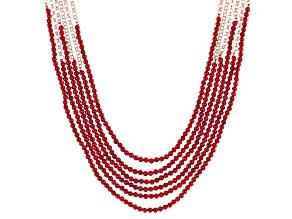 Red Coral Bead Multi-strand Copper Necklace